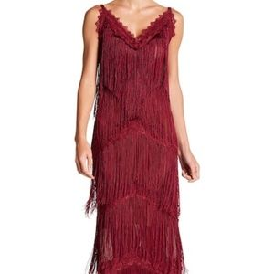 Wow Couture Fringe Lace Maxi Dress